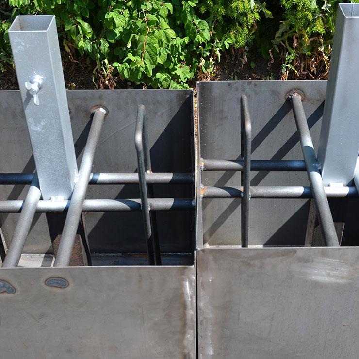 Fußwanne zum Ausfüllen mit Beton und Kies