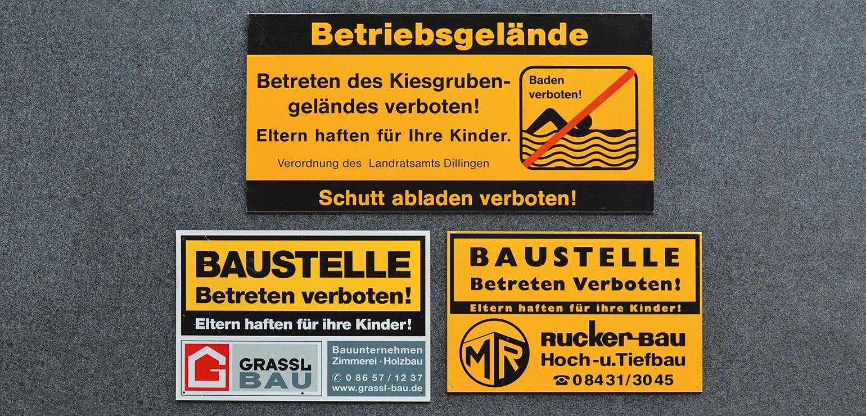 Warnschilder für Baustellen, Betriebsgelände oder Lagerplätze.