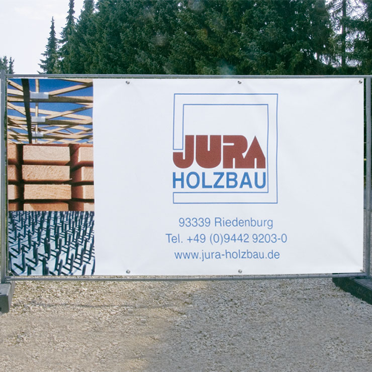 Bauzaunbanner als Sichtschutz mit sehr gutem Werbeeffekt.