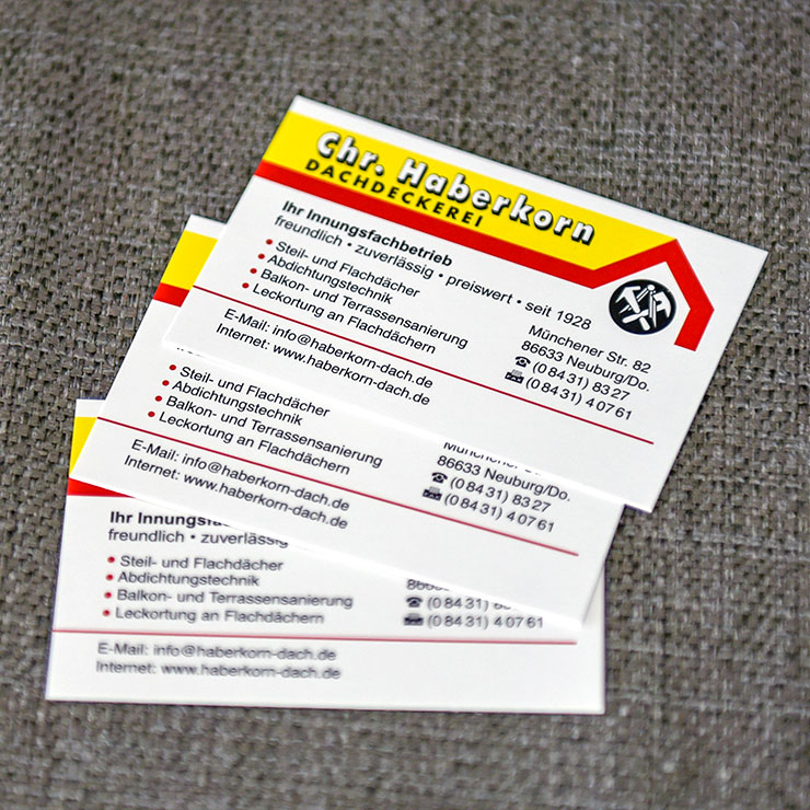 Visitenkarten in verschiedenen Ausführungen.