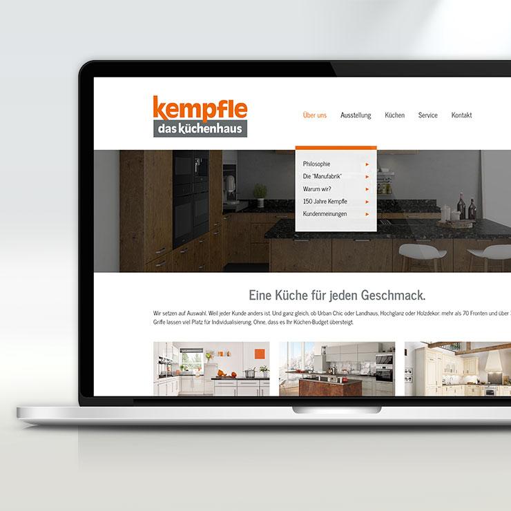 Moderne Gestaltung einer Webseite für ein Küchenhaus